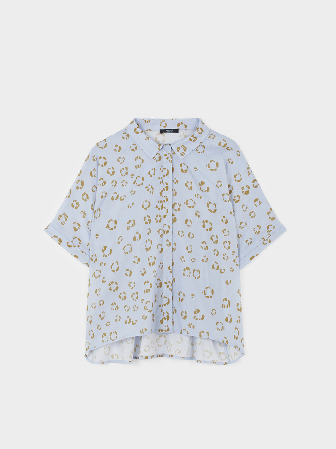 Printed Oversize Shirt, Blue, hi-res