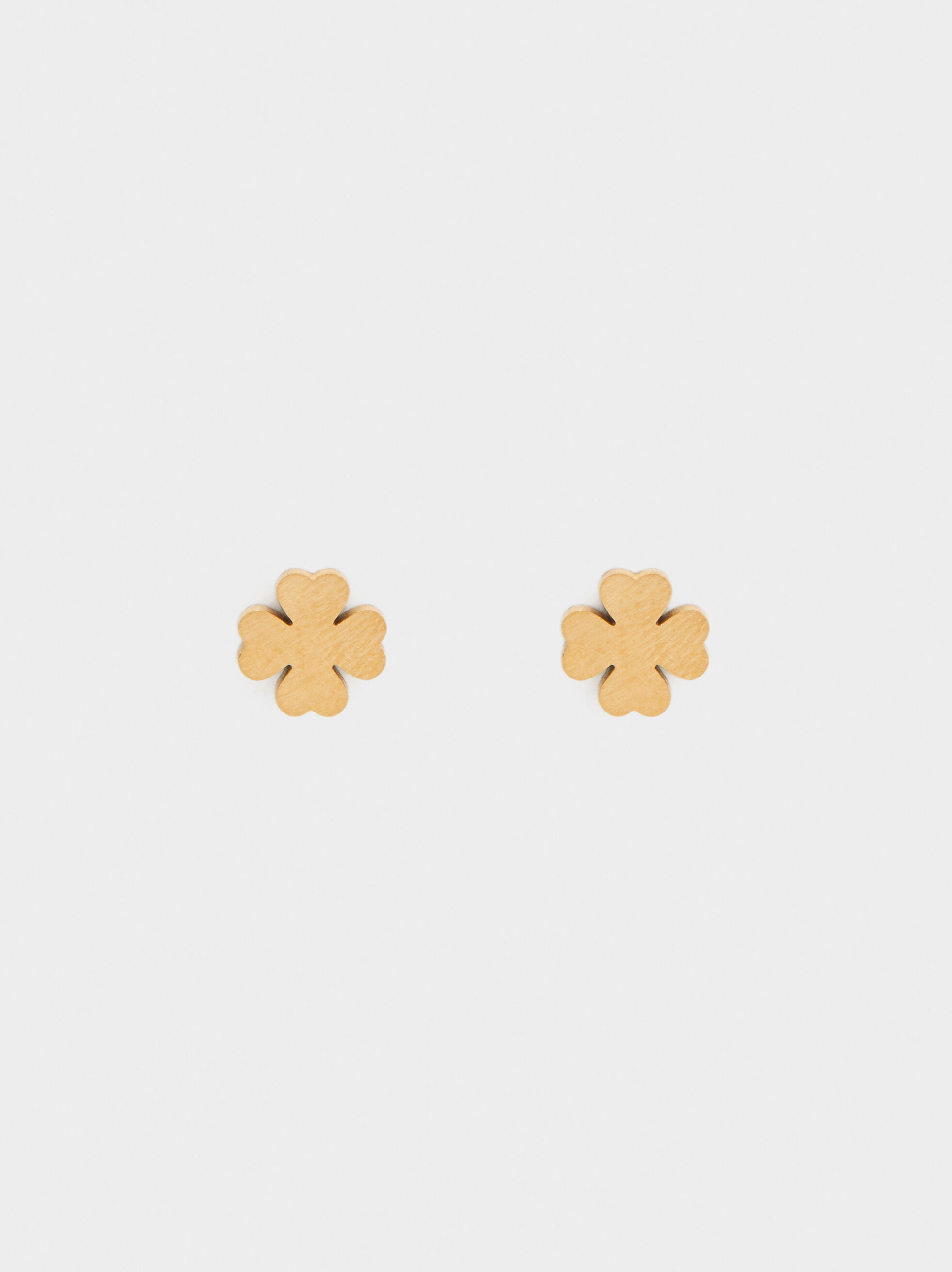 Short Gold Stainless Steel Earrings With Shamrock Detail, , hi-res