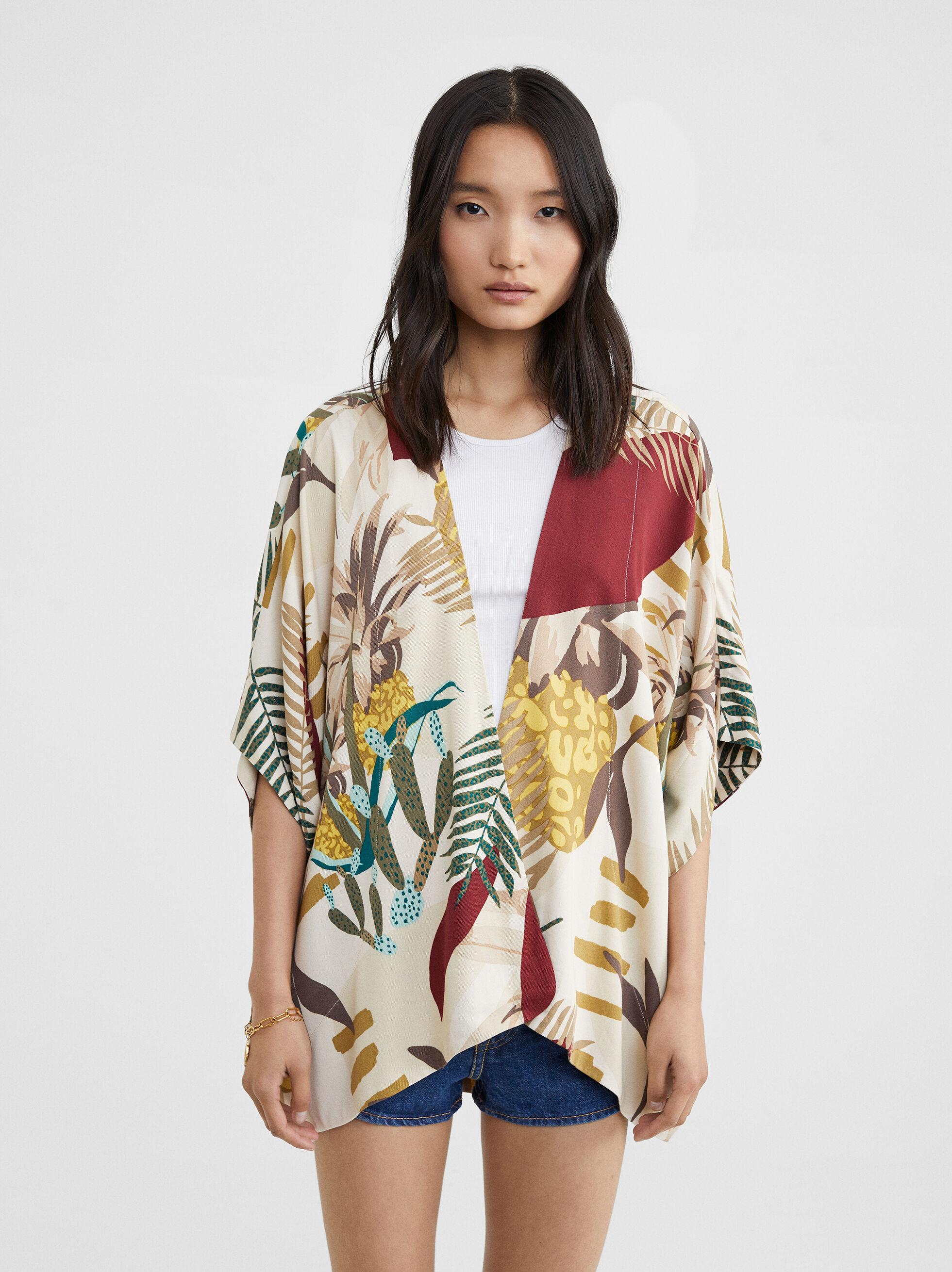 Multi-Coloured Print Kimono, Ecru, hi-res