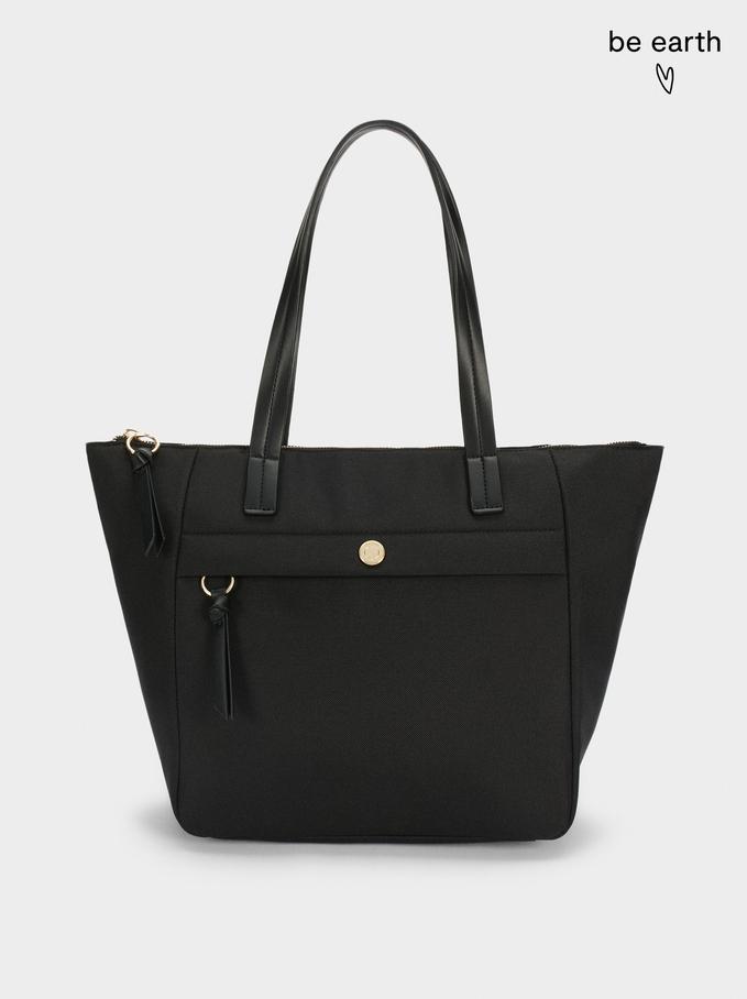 Bolso Shopper De Náilon Confeccionado Con Materiales Reciclados, Negro, hi-res