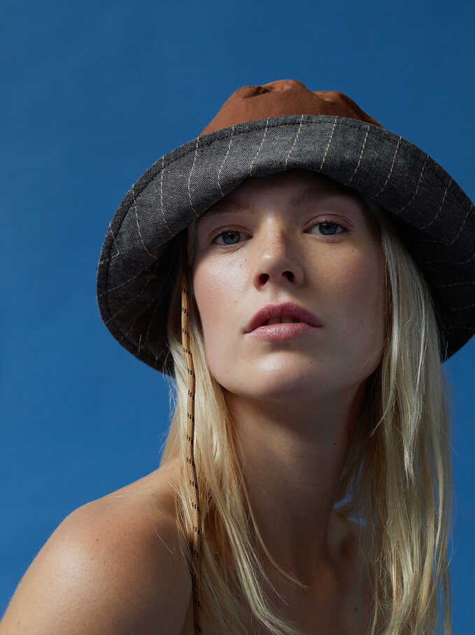 Bucket Hat With Straps, Brown, hi-res