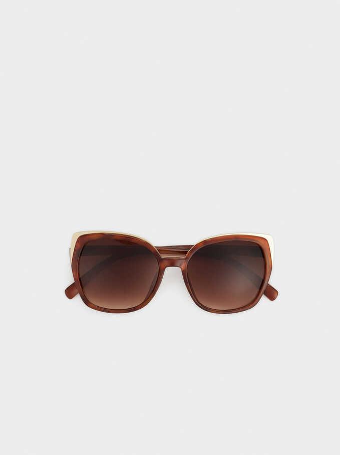 Metal Detail Sunglasses, Brown, hi-res