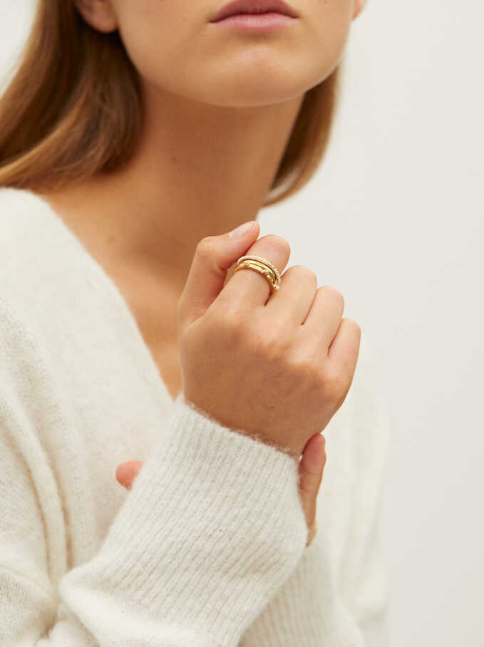 Set Of Rings With Faux Pearls, Golden, hi-res