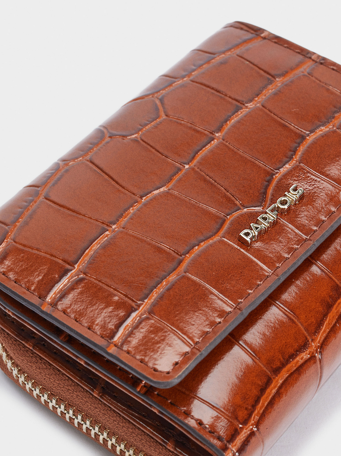Embossed Animal Print Card Holder With Coin Purse, Camel, hi-res