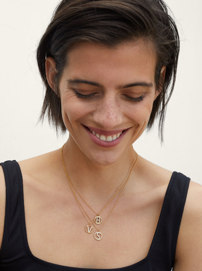 Short Steel Necklace With Letter S, Golden, hi-res