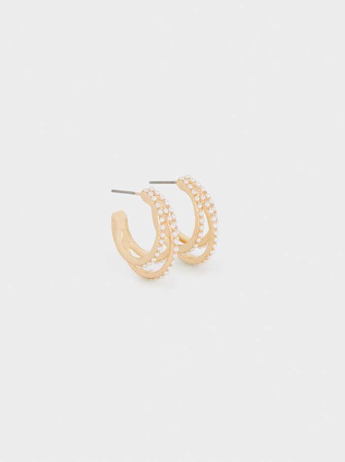 Hoop Earrings With Pearls, Golden, hi-res