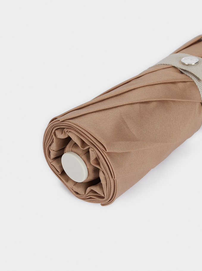 Small Folding Umbrella, Brown, hi-res