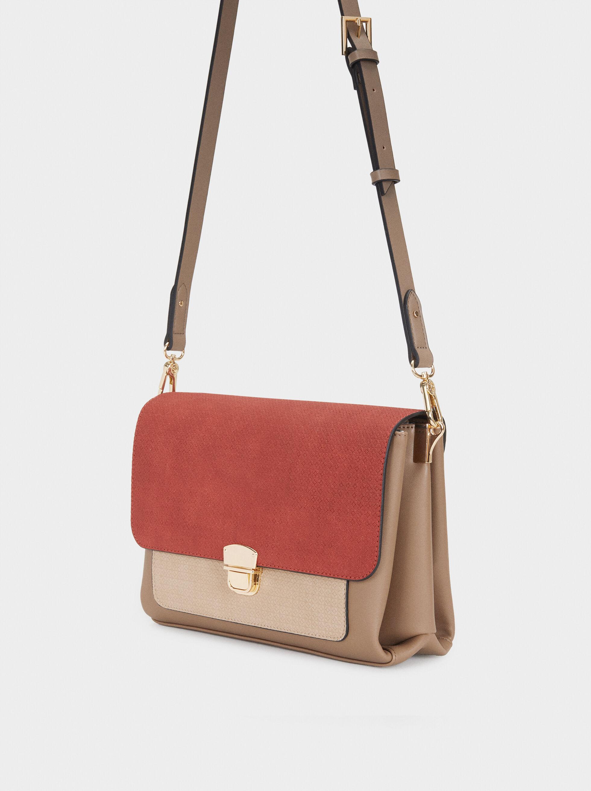 Embossed Shoulder Bag, Brick Red, hi-res