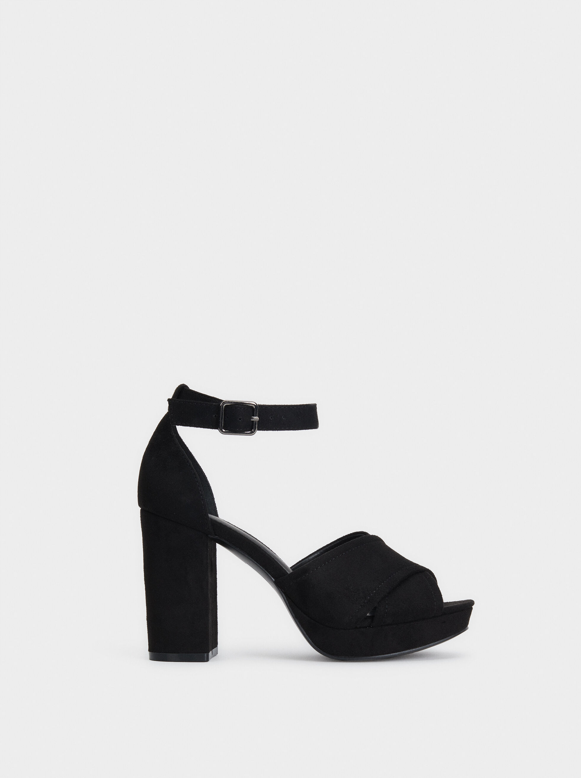 Heeled Sandals With Crossed Straps, , hi-res