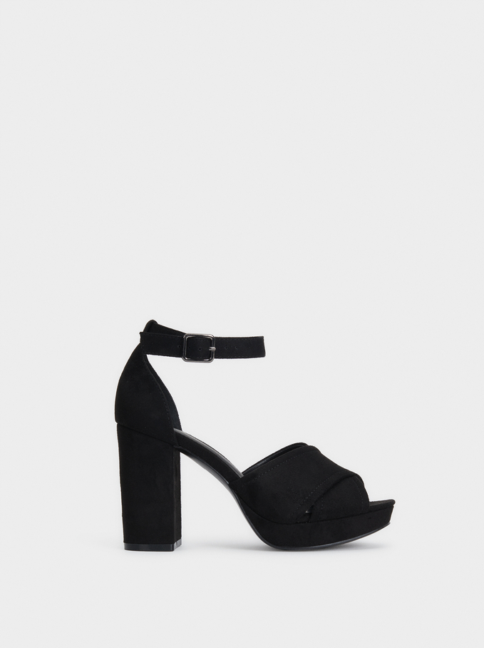 Heeled Sandals With Crossed Straps, Black, hi-res