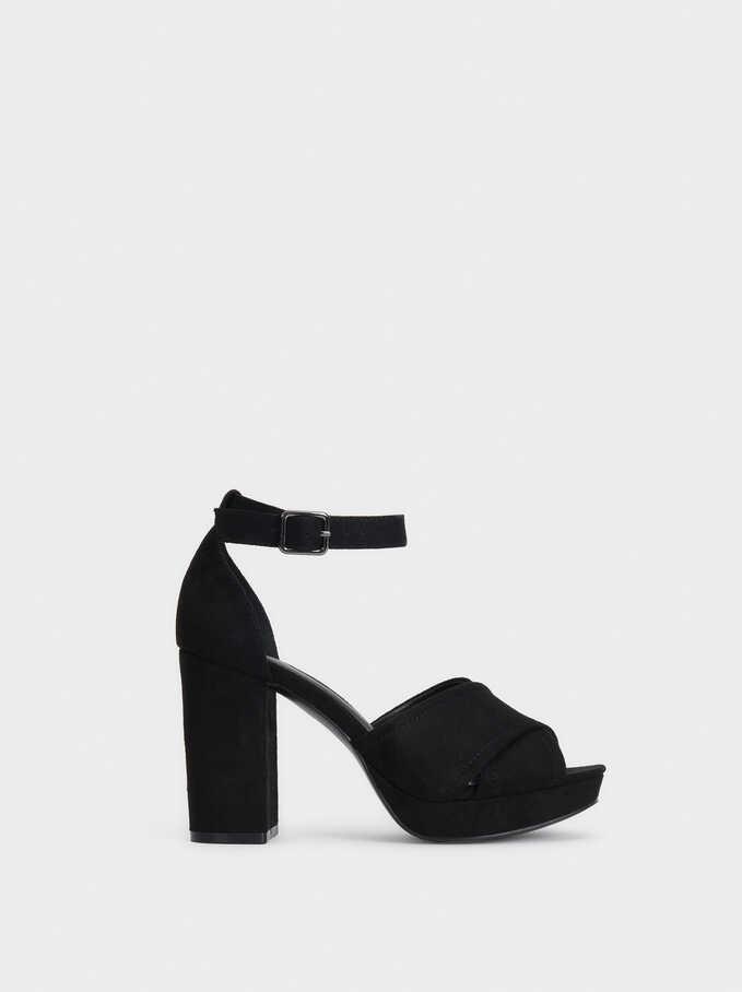 Heeled Sandals With Crossed Straps, Black, hi-res