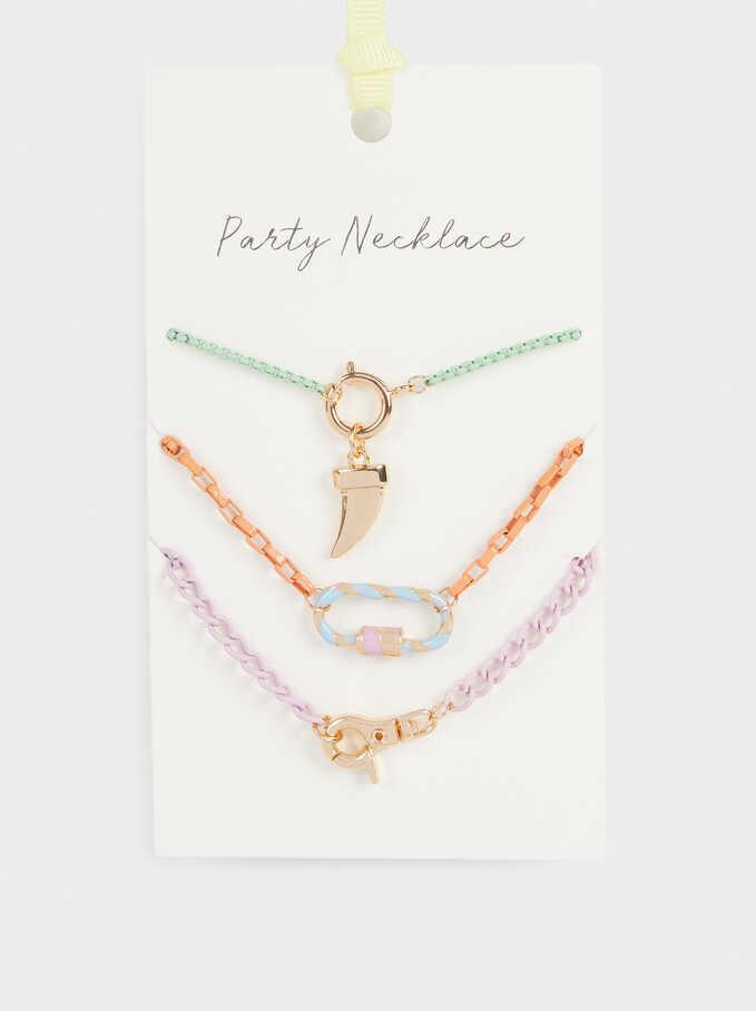 Horn Necklace Set, Multicolor, hi-res