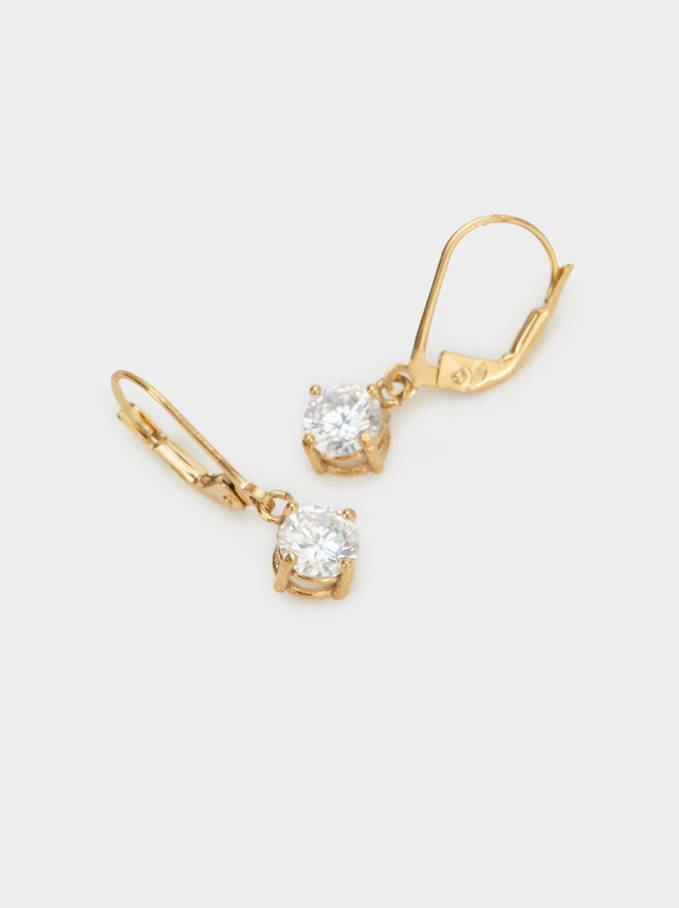 925 Silver Earrings With Rhinestones, Golden, hi-res