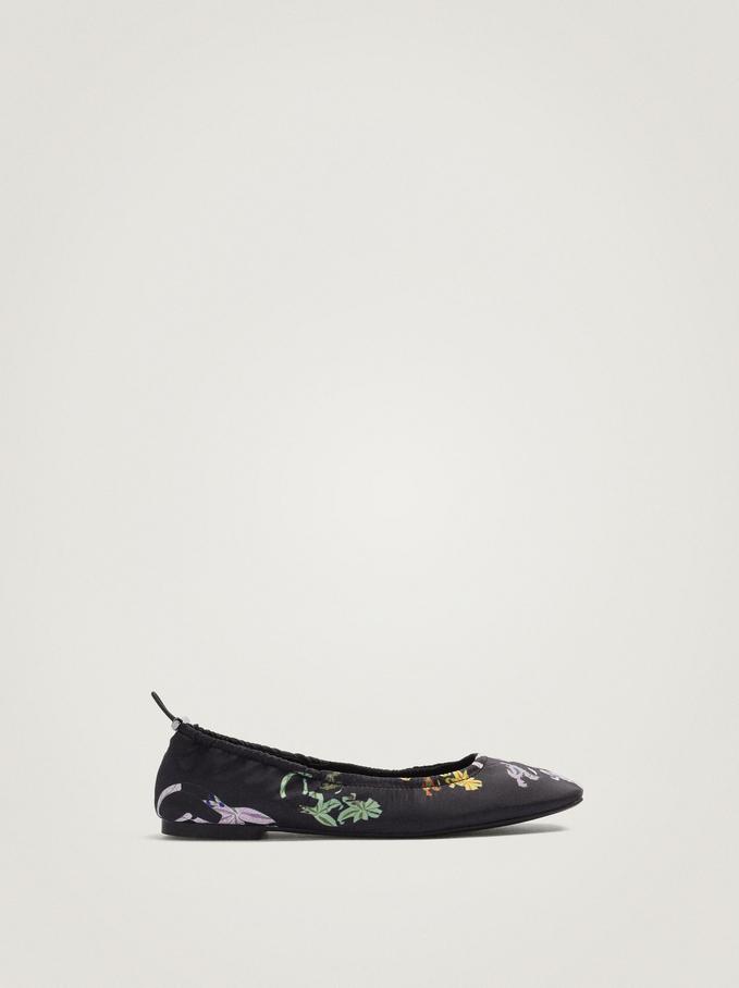 Floral Print Ballerinas, Black, hi-res