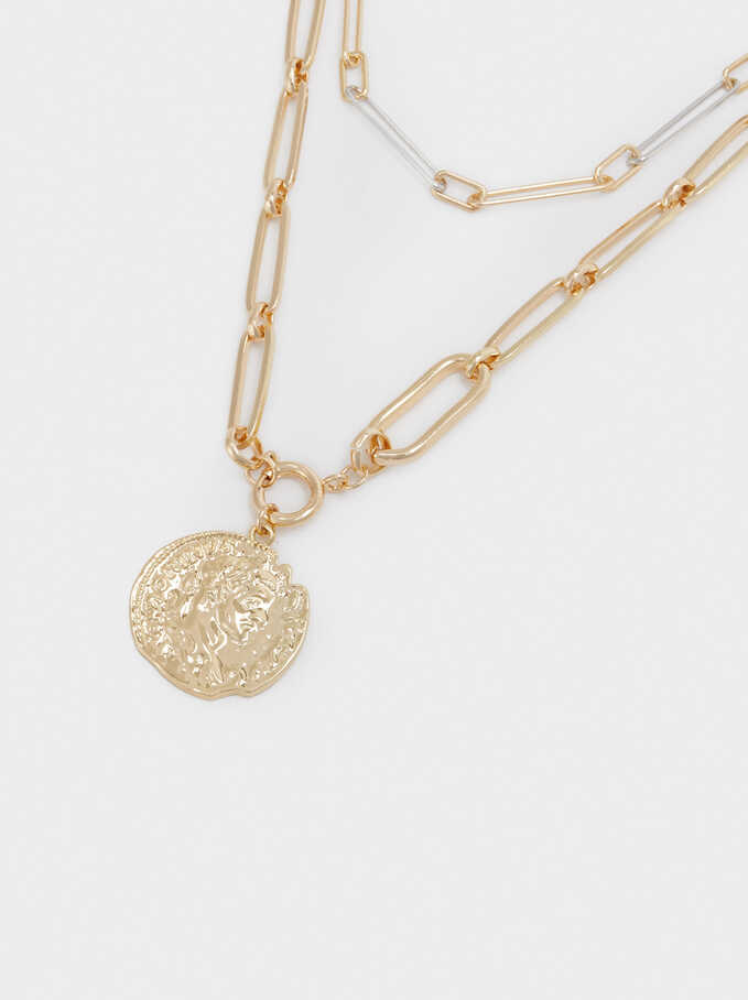 Medallion Necklace Set, Golden, hi-res