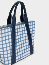 Gingham Print Tote Bag, Navy, hi-res