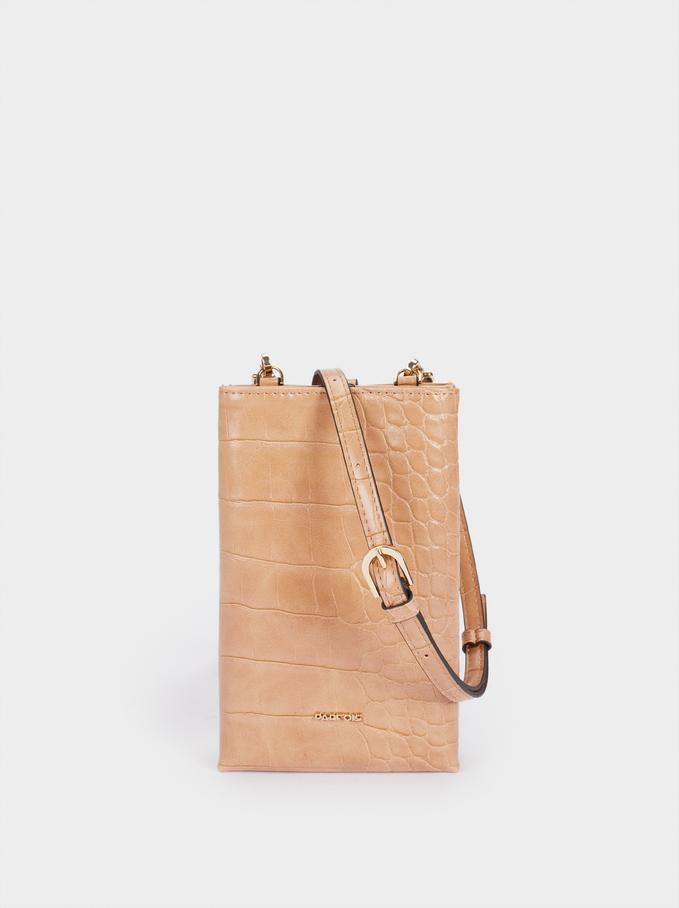 Embossed Mobile Phone Bag With Shoulder Strap, Camel, hi-res