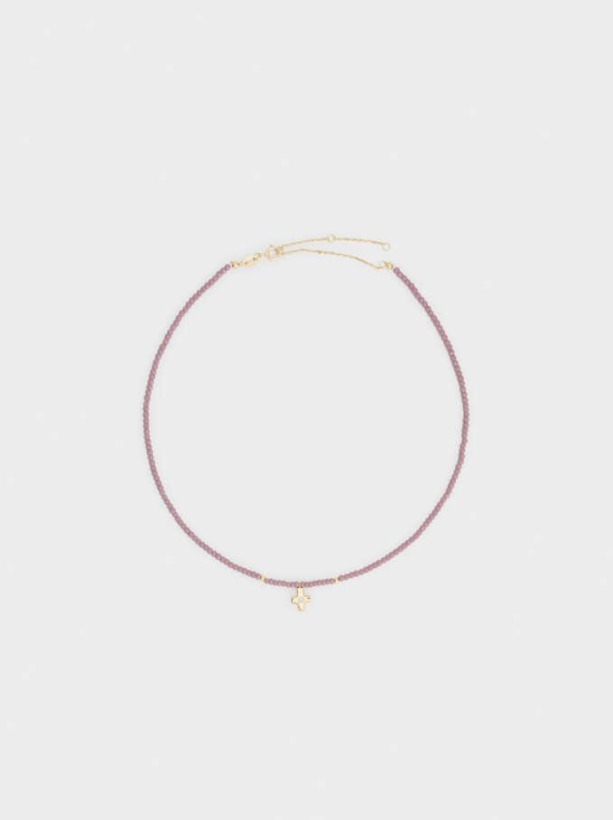 Short 925 Silver Cross Necklace, Violet, hi-res