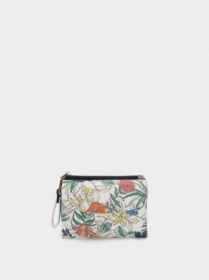 Compact Floral Print Wallet, Navy, hi-res