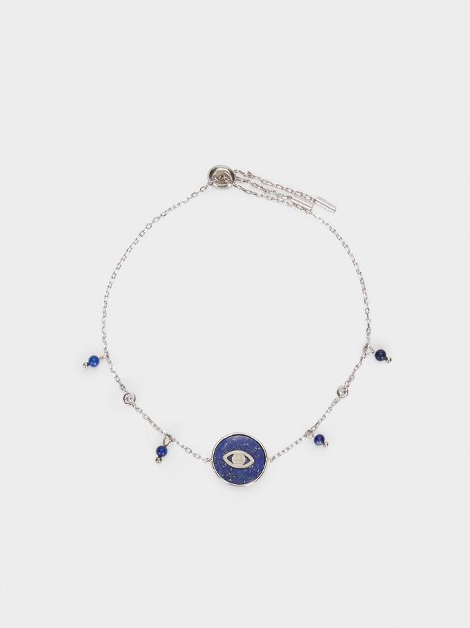 Pulseira Ajustável De Prata 925 Pedra E Olho, Azul, hi-res