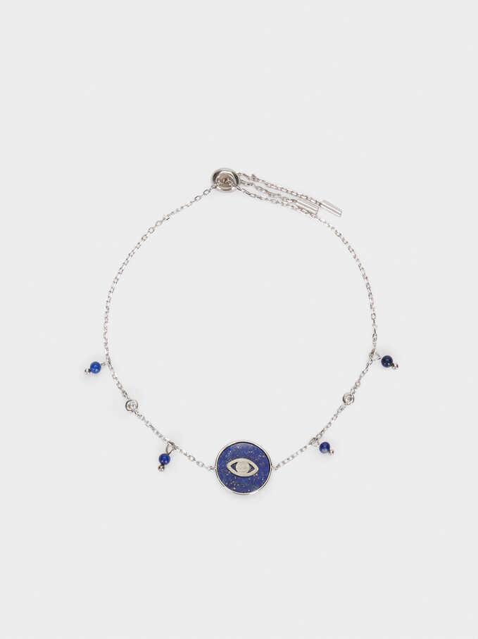 Pulsera Ajustable De Plata 925 Piedra Y Ojo, Azul, hi-res
