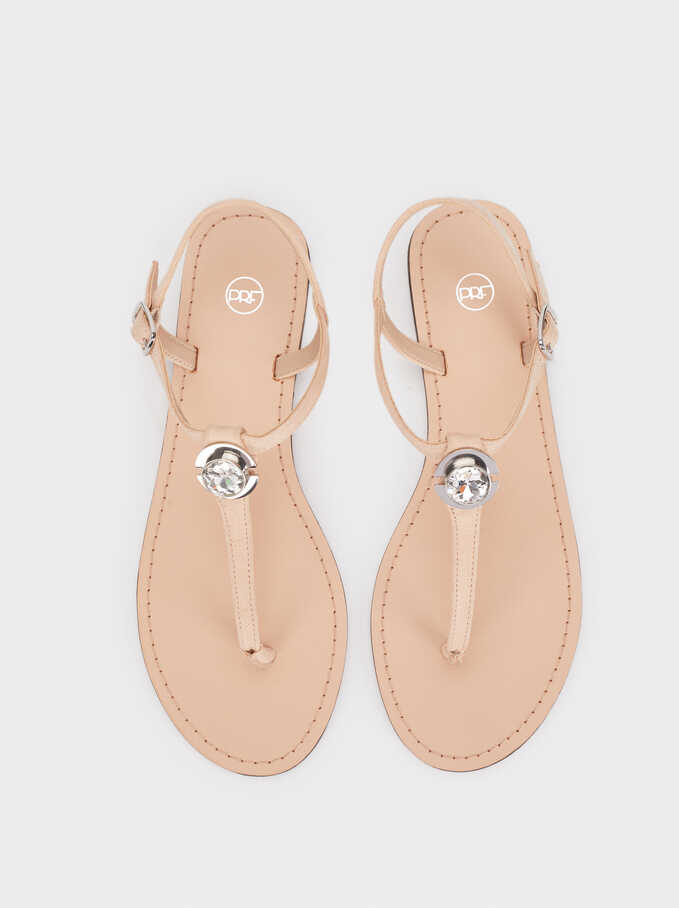 Flat Sandals With Rhinestone Detail, Beige, hi-res