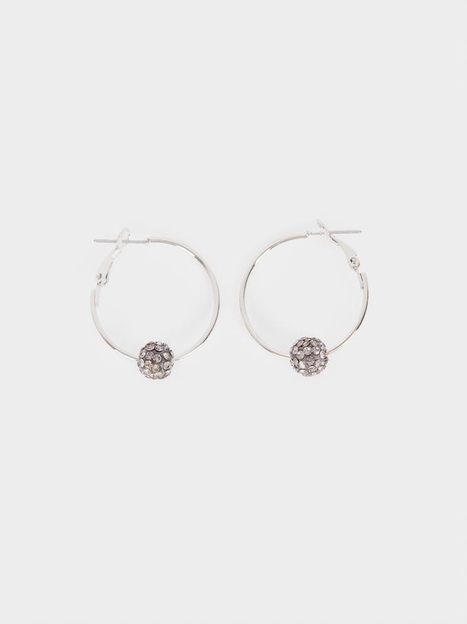 Small Crystal Hoop Earrings, Silver, hi-res