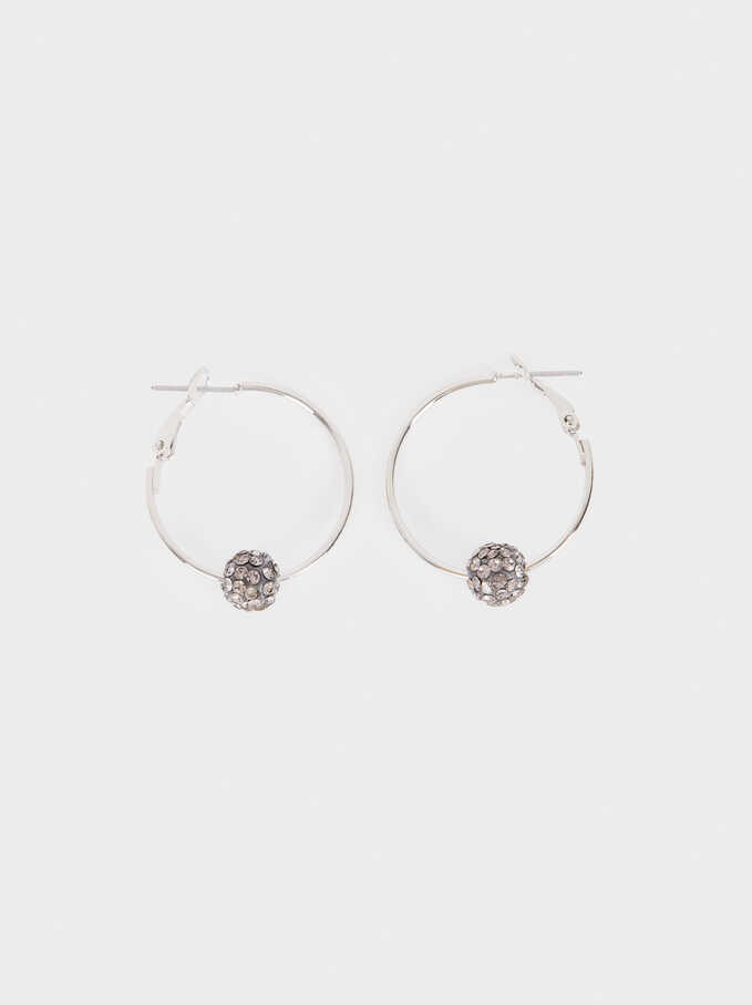 Small Crystal Hoop Earrings, Silver, hi-res