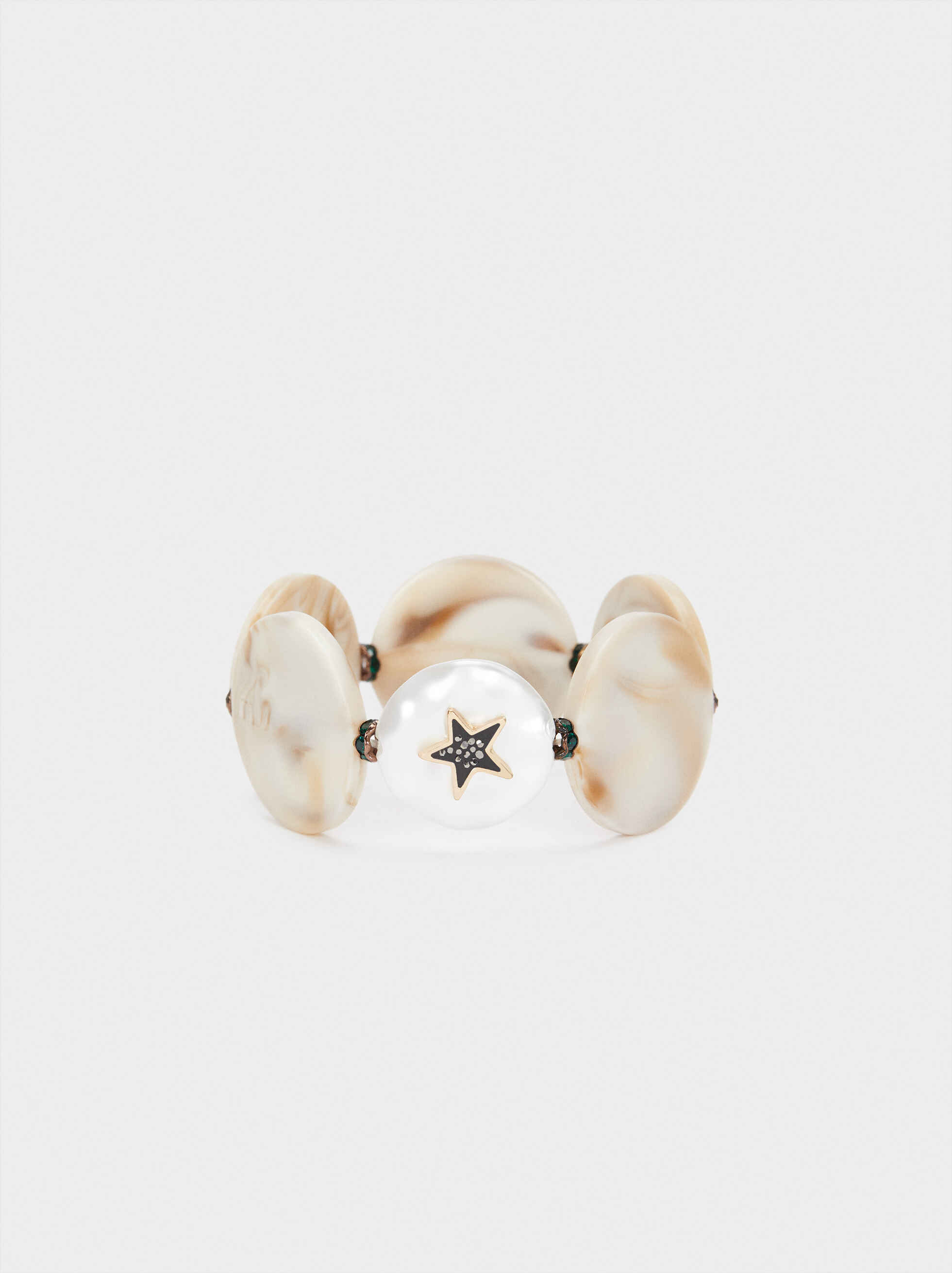 Elasticated Bracelet With Multicoloured Star, Beige, hi-res