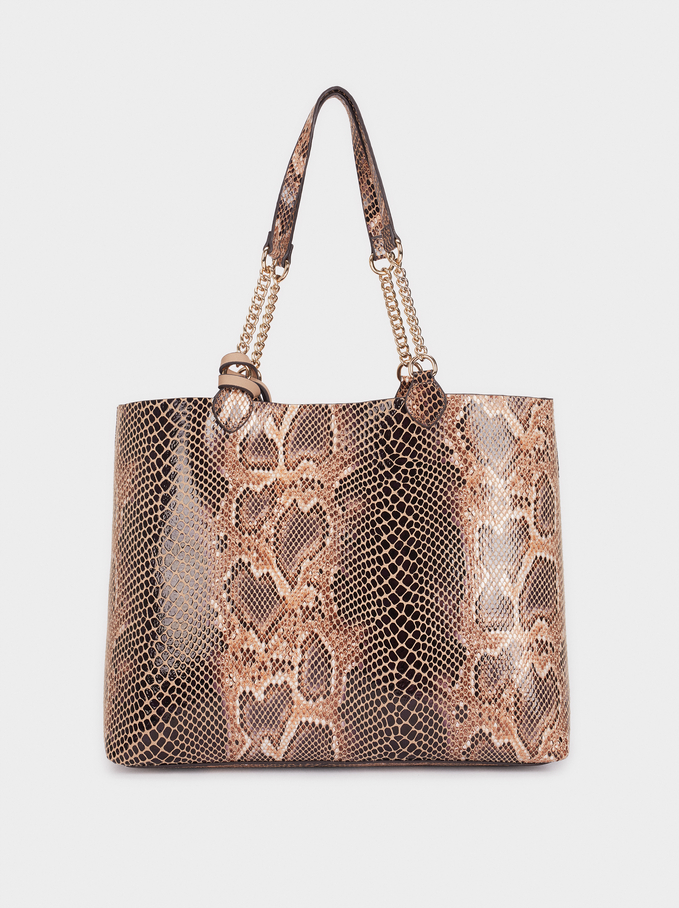 Bolso Shopper Grabado Animal, Beige, hi-res