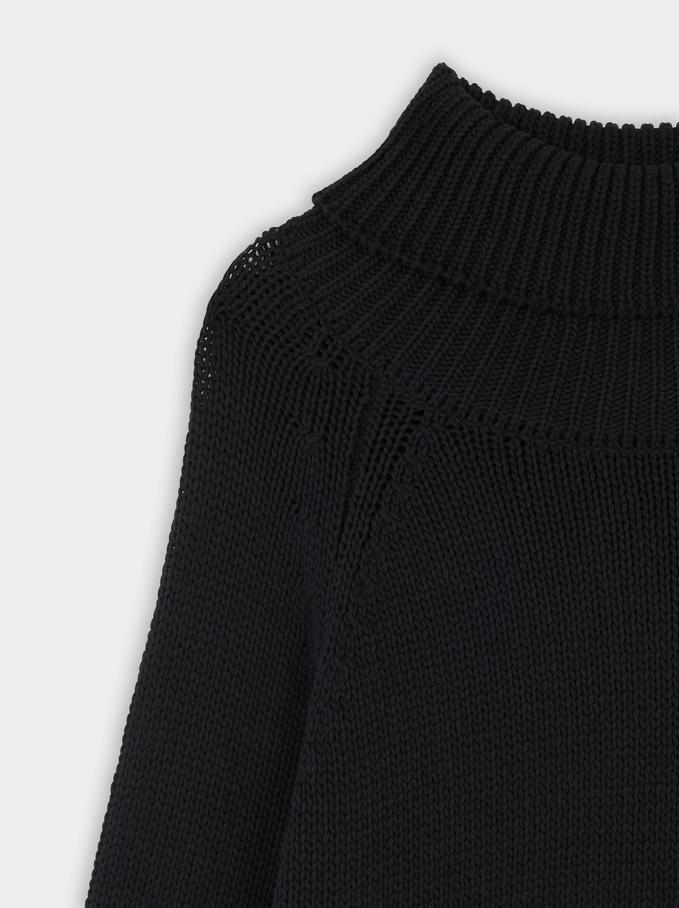 High-Neck Knit Sweater, Black, hi-res