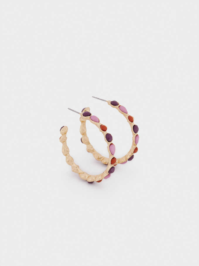 Hoop Earrings With Crystals, Multicolor, hi-res