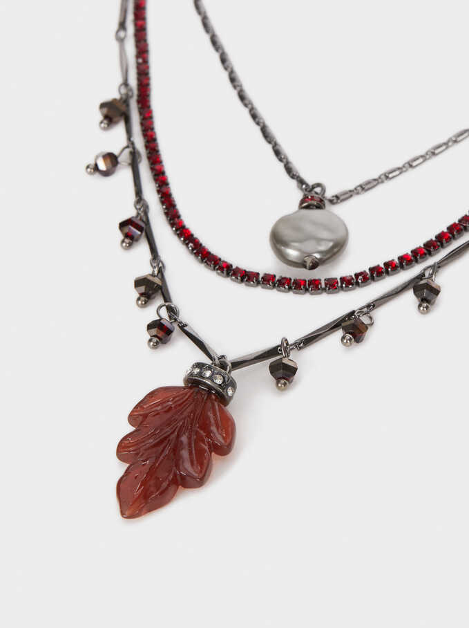 Set Of Necklaces With A Leaf And Crystals, Bordeaux, hi-res