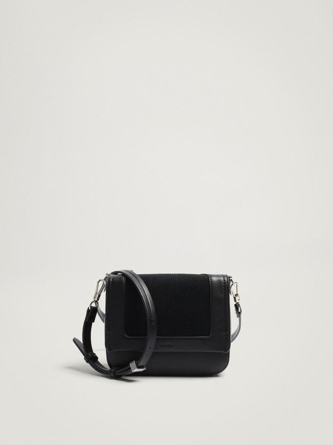 Contrasting Crossbody Bag With Front Flap Closure, Black, hi-res