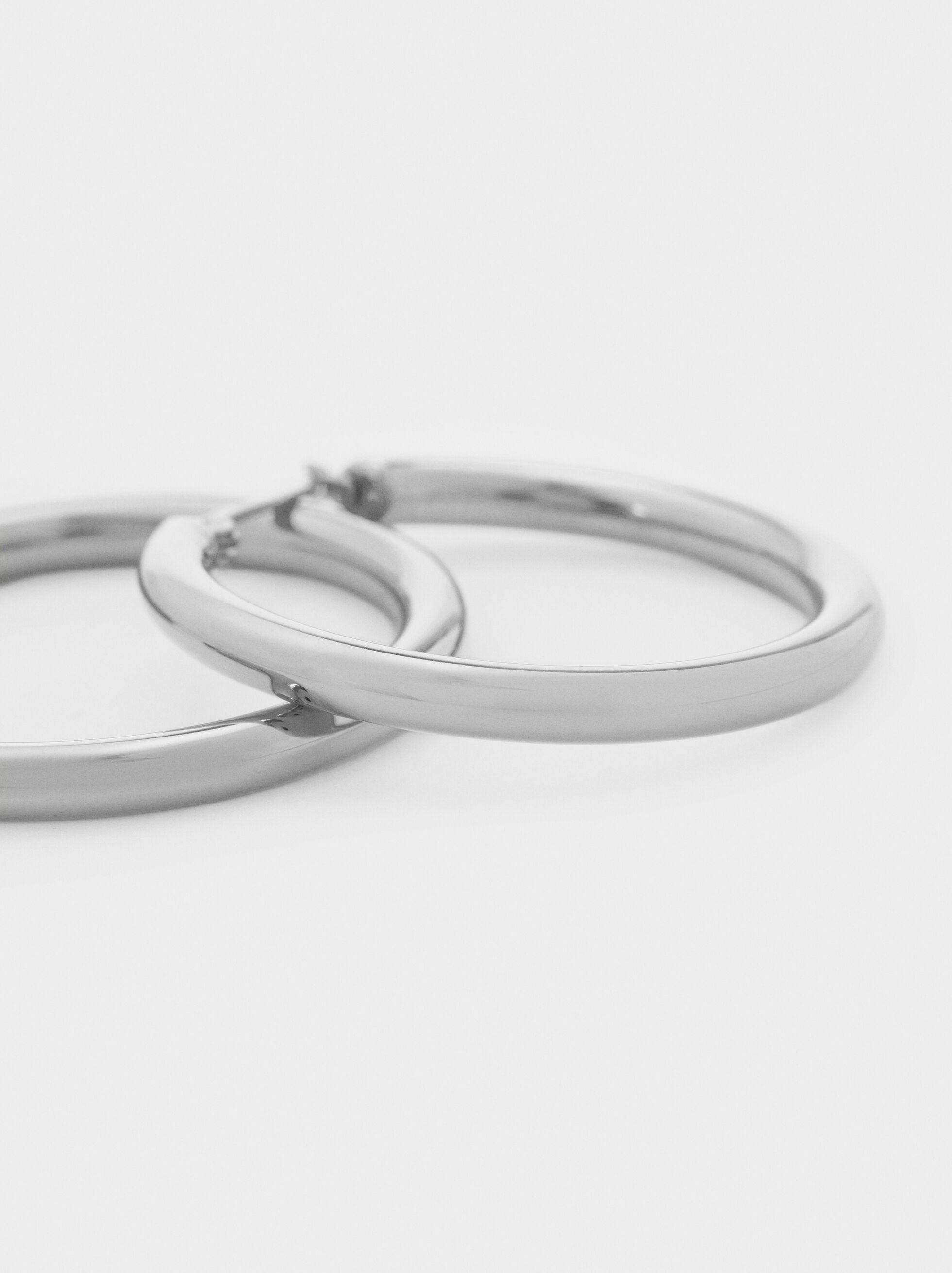 Medium Steel Hoop Earrings, Silver, hi-res