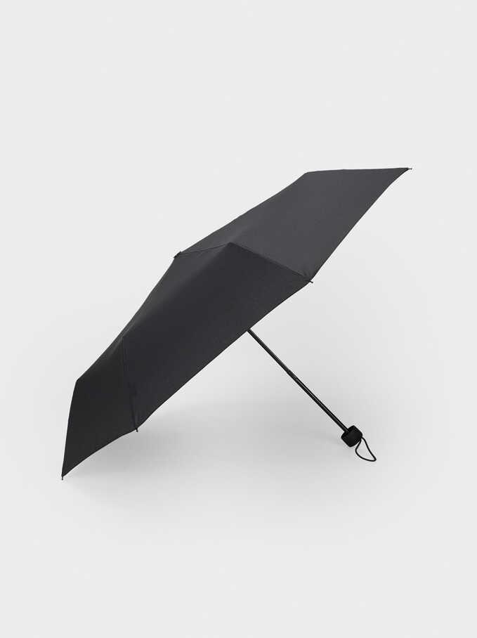 Paraguas Plegable Liso, Negro, hi-res