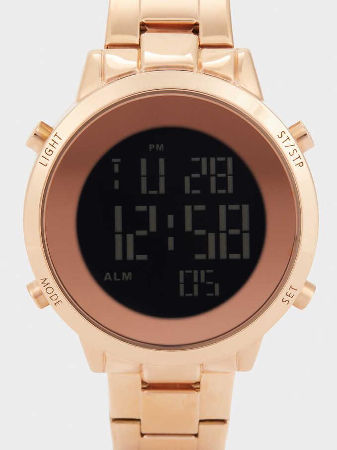 Reloj Digital Correa De Acero, Naranja, hi-res