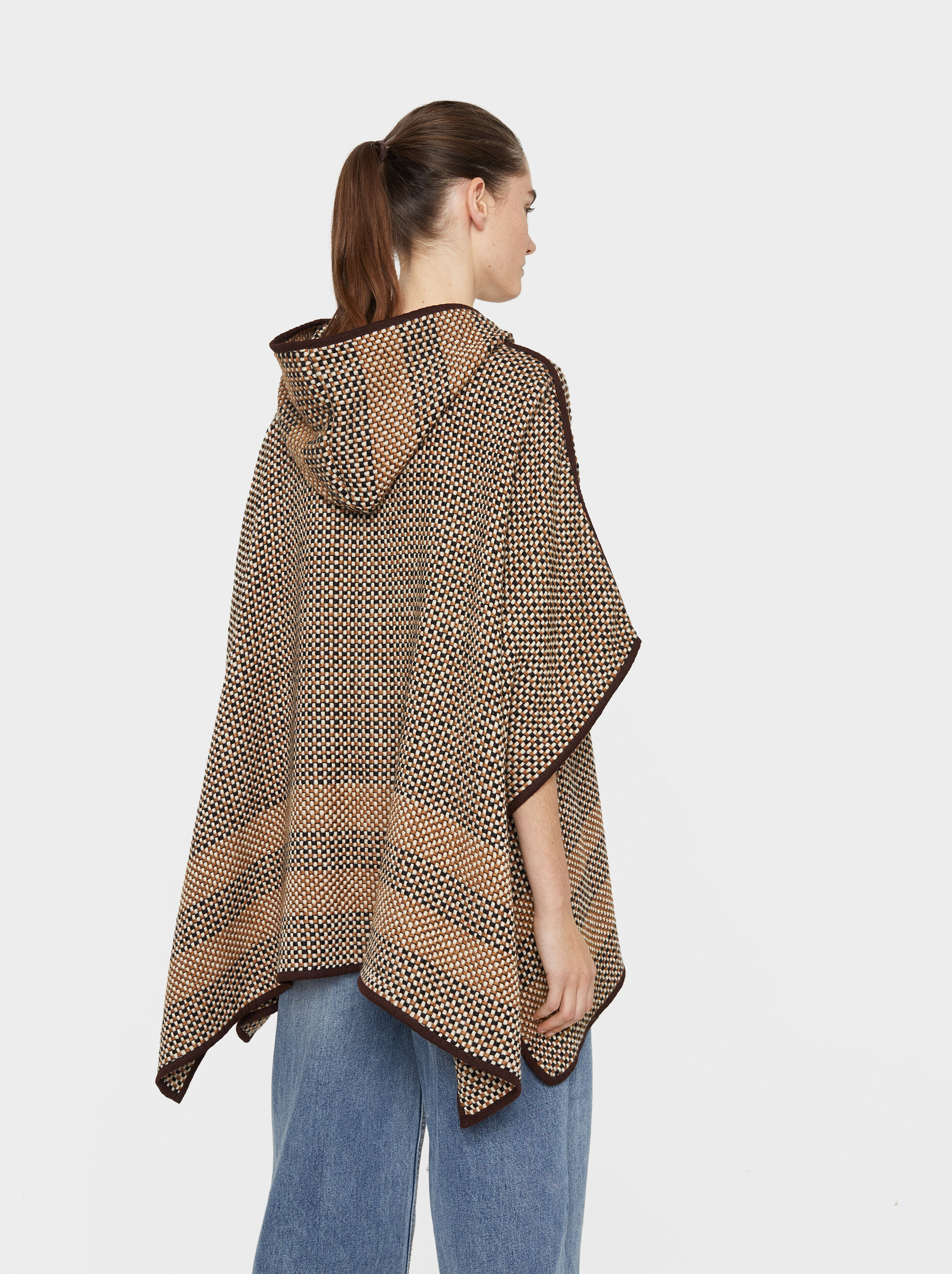 Hooded Poncho, Camel, hi-res