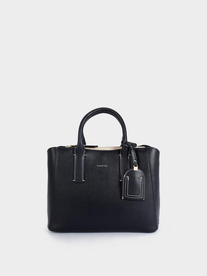 Shopper Bag With Multi-Way Handle, Black, hi-res