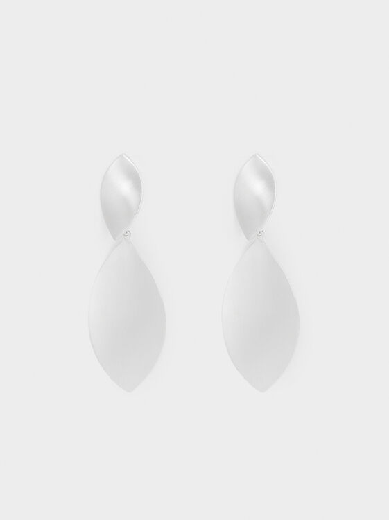 Basic Dangle Earrings, Silver, hi-res