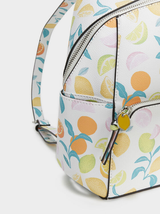 Fruit Print Backpack, Yellow, hi-res