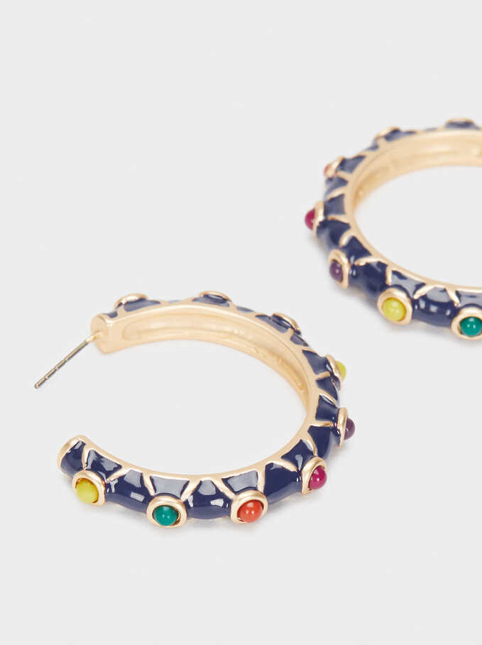 Multicoloured Hoop Earrings, Multicolor, hi-res
