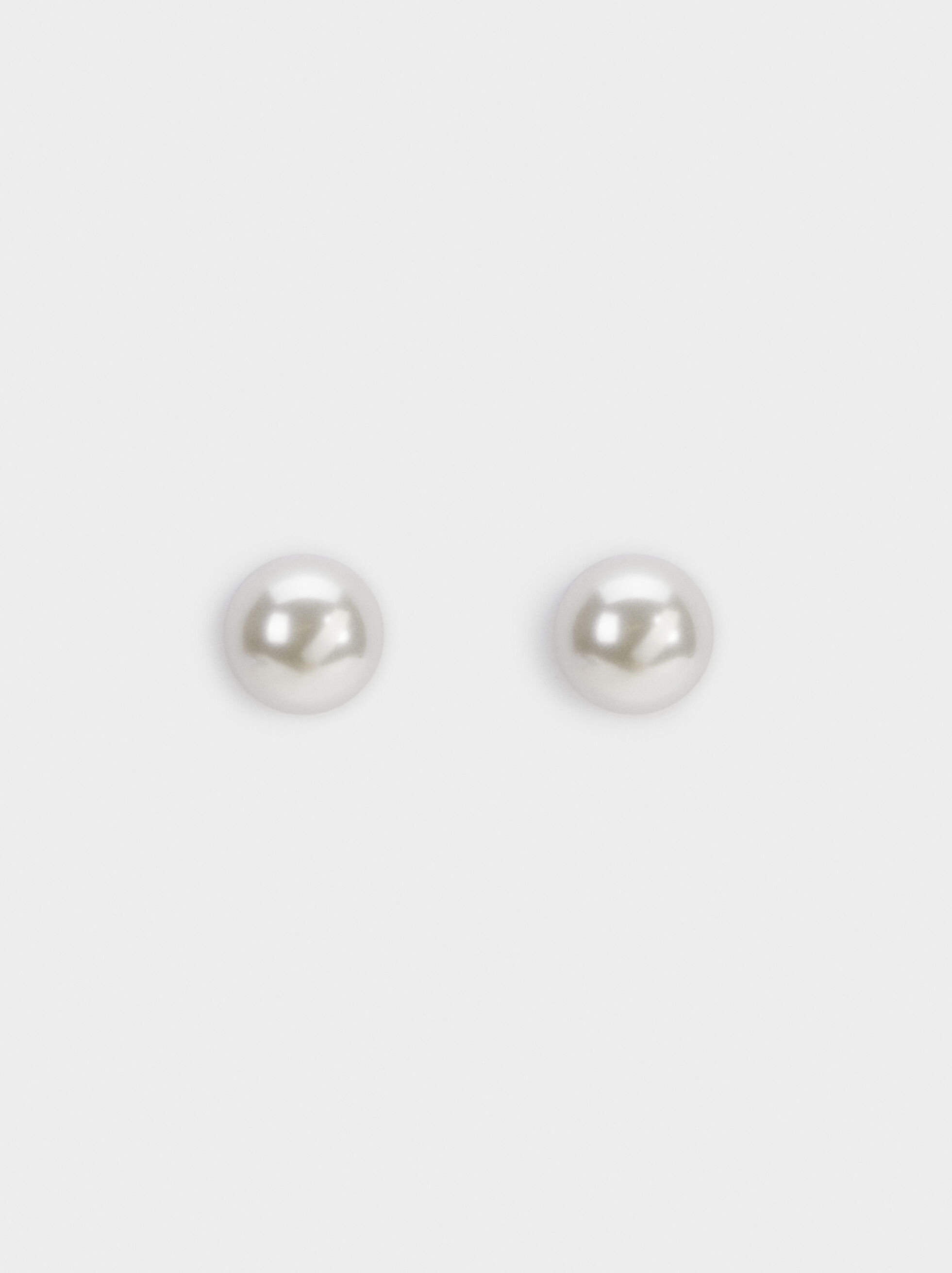 Faux Pearl Short Earrings With Clip Buckle, Beige, hi-res