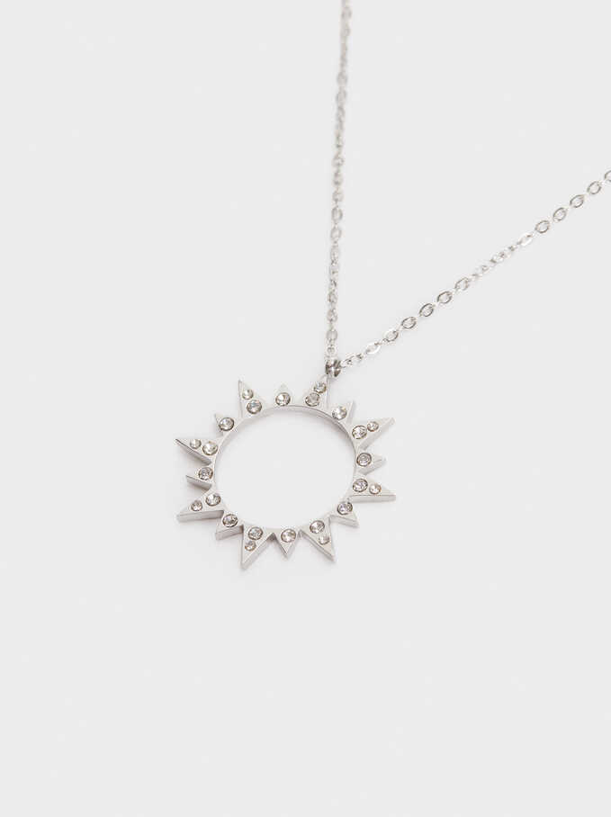 Short Stainless Steel Necklace With Sun, Silver, hi-res