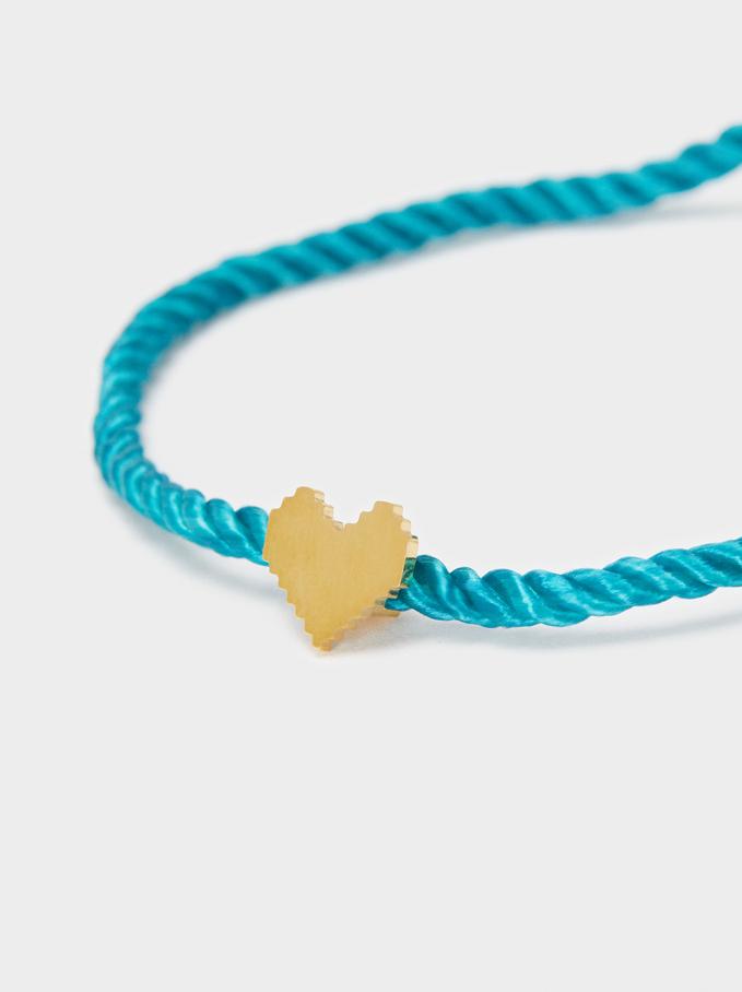 Adjustable Chain Bracelet With Heart Detail, Grey, hi-res