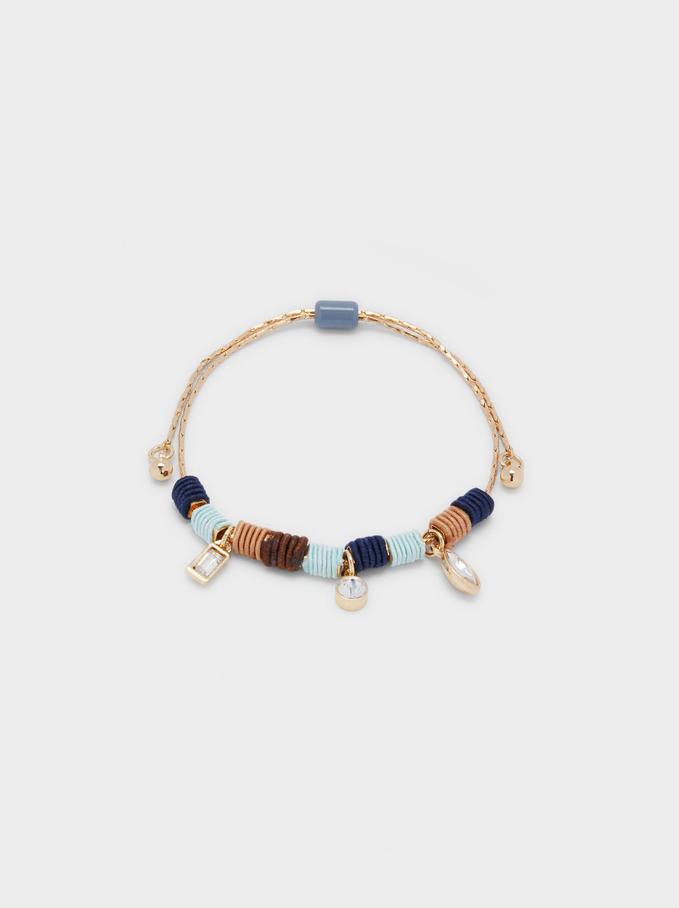 Adjustable Bracelet With Pendants, Multicolor, hi-res