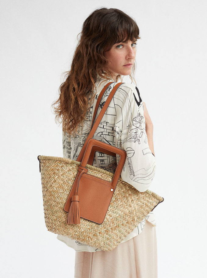 Textured Raffia Tote Bag, Camel, hi-res