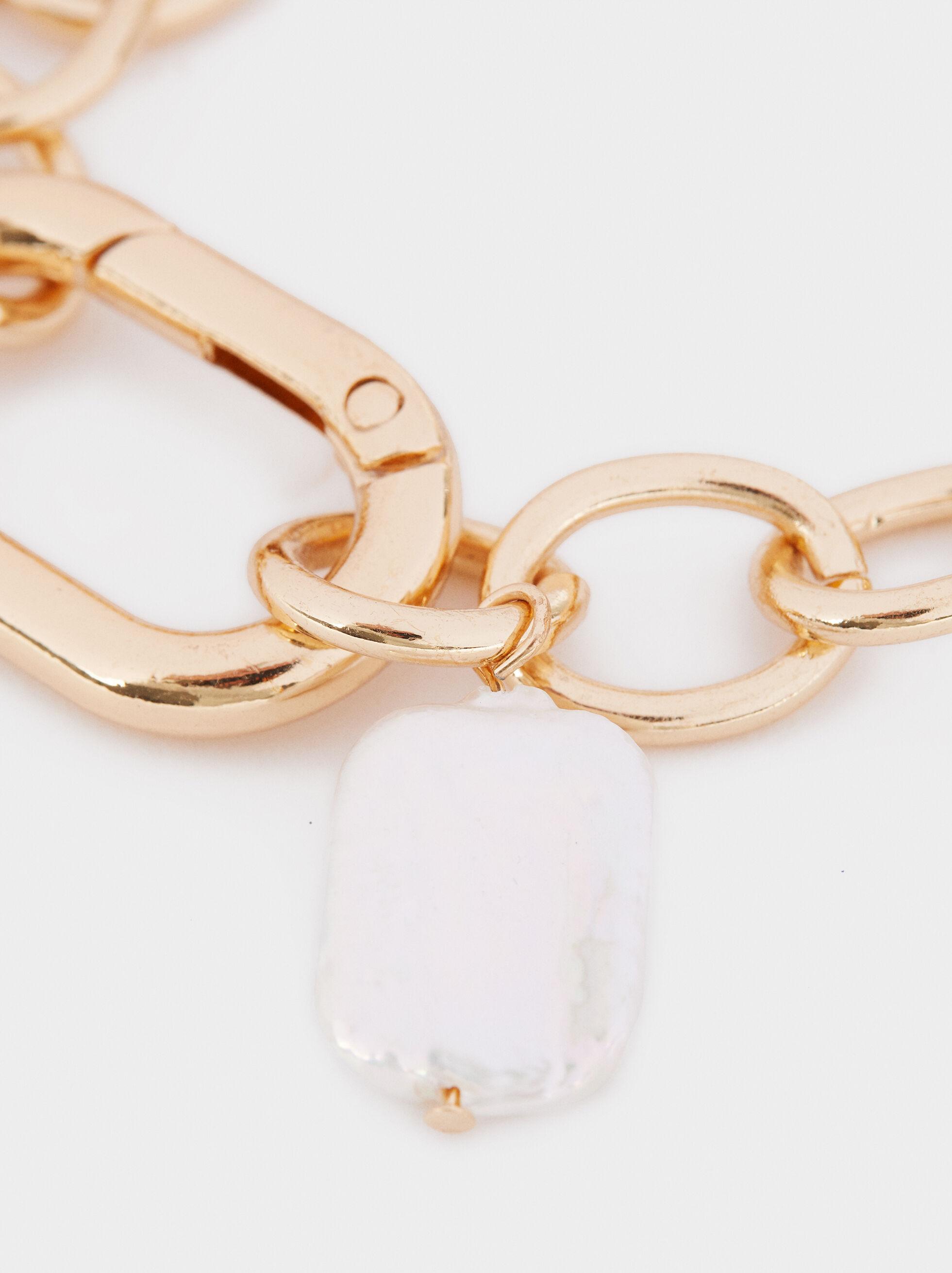 Gold Faux Pearl Bracelet, Golden, hi-res
