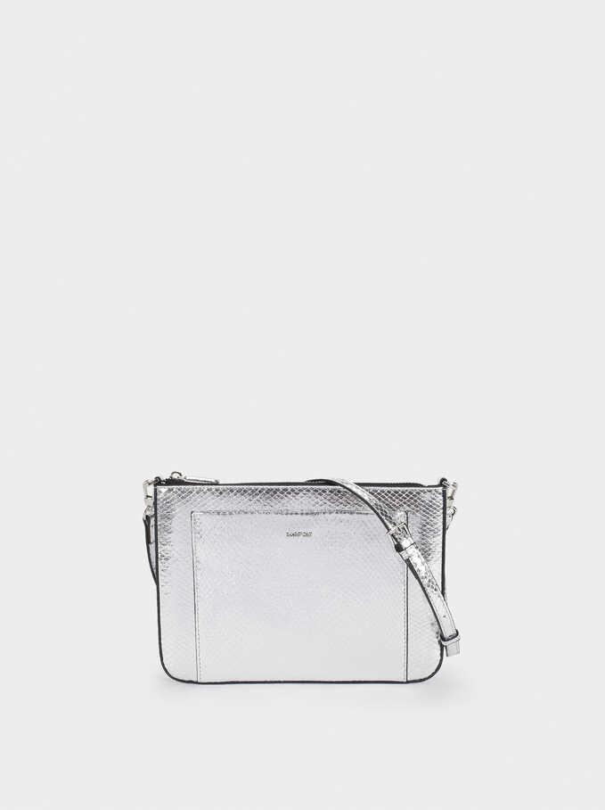 Embossed Metallic Crossbody Bag, Silver, hi-res