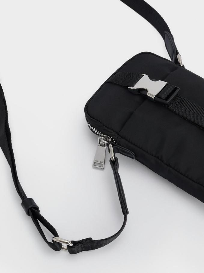 Housse De Téléphone Portable En Nylon Avec Bandoulière, Noir, hi-res